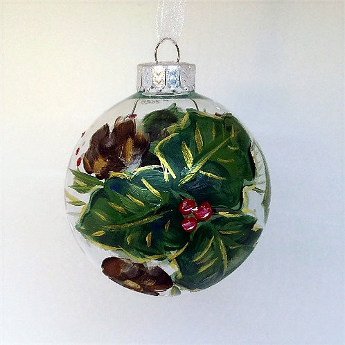 Glass Ornament - Holly II