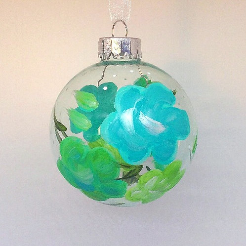 Glass Ornament - Turquoise/Chartreuse I