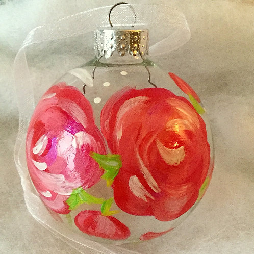 2019 Glass Ornament - Rose