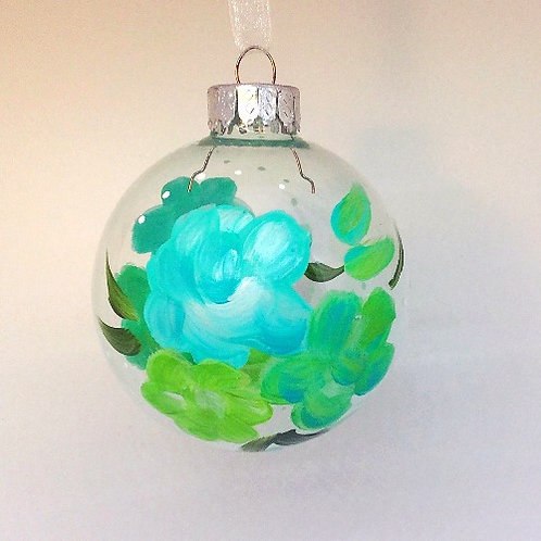 Glass Ornament - Turquoise/Chartreuse II