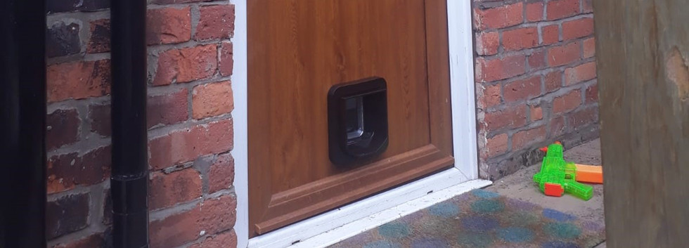 Cat Flap installed into UPVC Panel