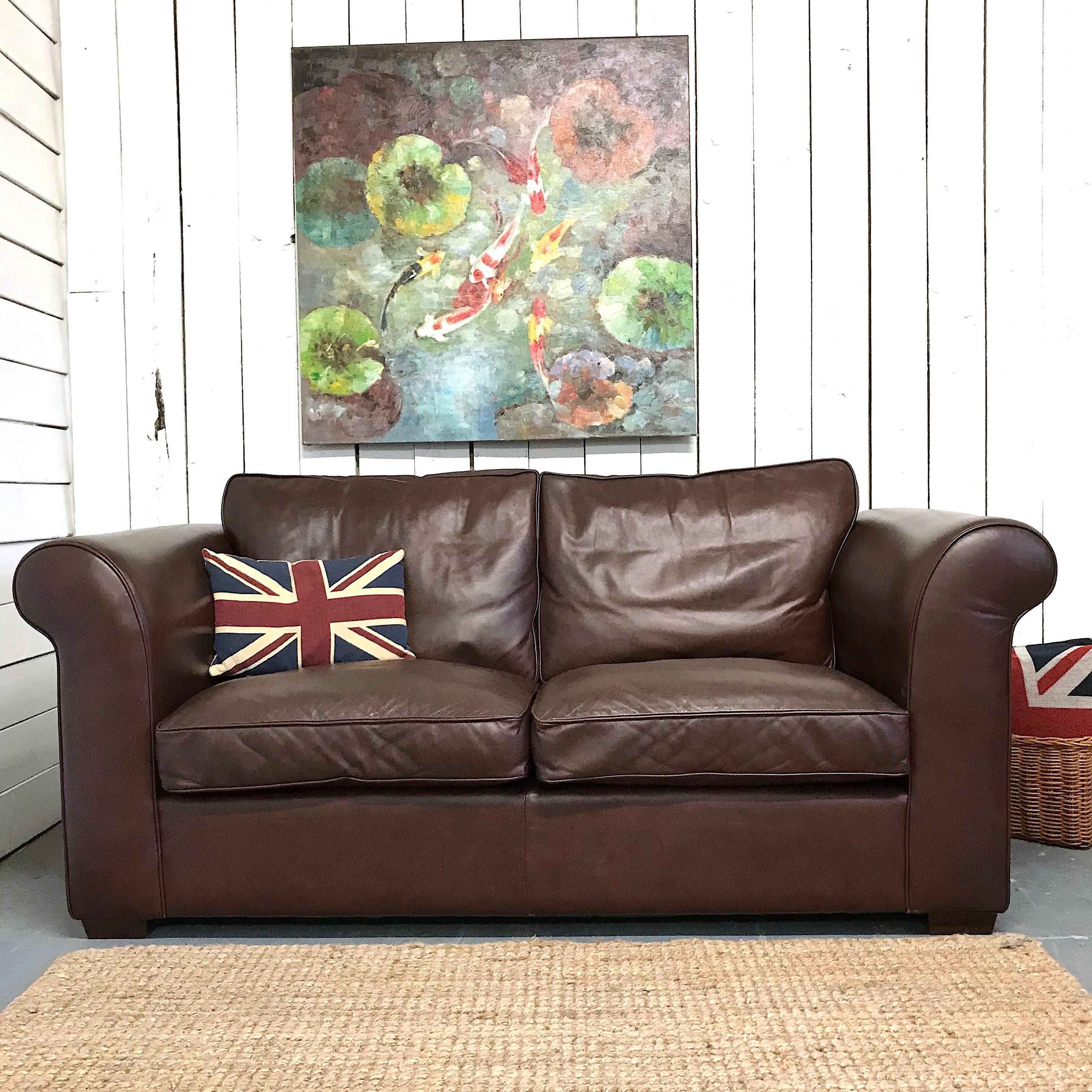Laura Ashley Leather Sofa | englishemporium