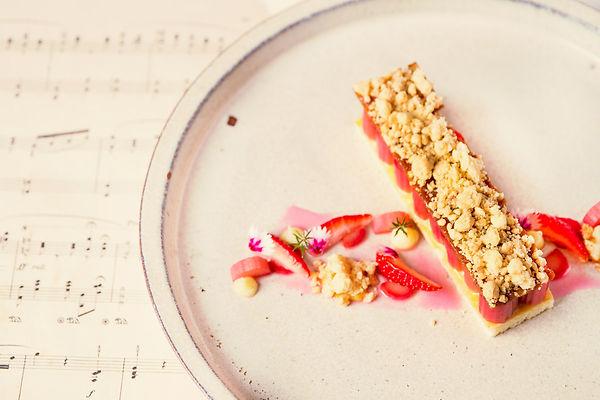 Poached Rhubarb Shortcake Crumble