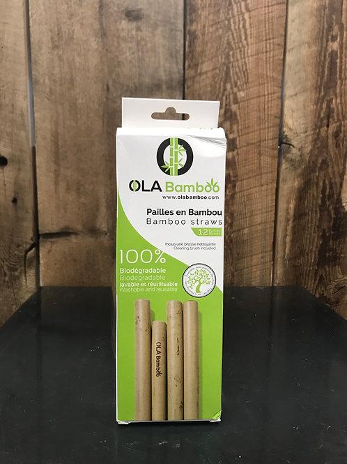 Ensemble de 12 pailles en bambou - Ola Bamboo