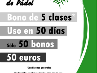 Oferta Última Hora! Bono 50 de Pádel! 50 uds, 50 euros, para 50 días!!