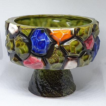 Grønn keramikskål stett retro