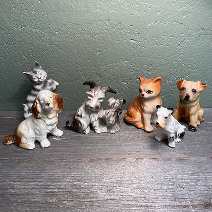 Hund/katt figur porselen