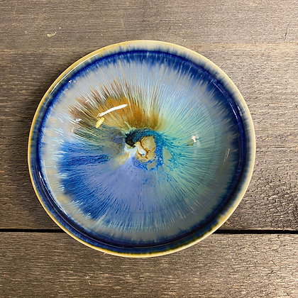 Keramikkskål signert med blå glasur