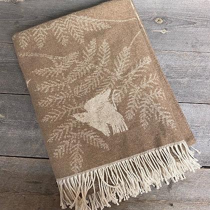 Sveinbjørg teppe brunt fuglemotiv