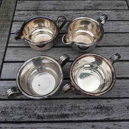 Sukkerskål melkemugge i sølvplett