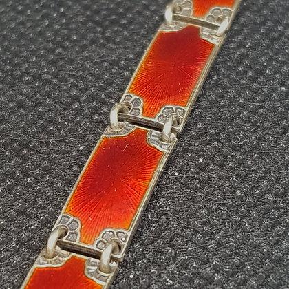 Rødt emaljert sølvarmbånd
