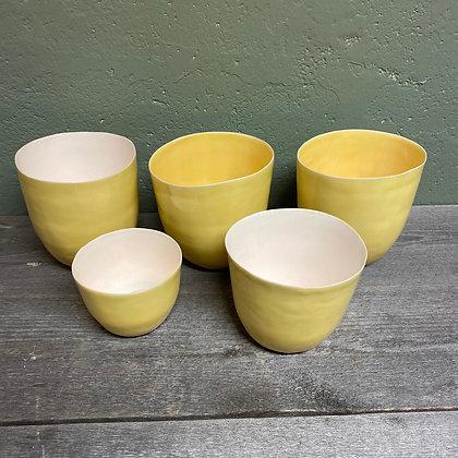 Porselen lyslykt (gul)