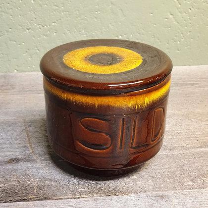 Retro sursildkrukke gul og brun retro