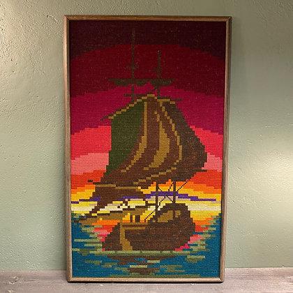 Brodert bilde båt sterke farger retro