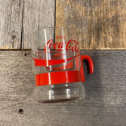Coca Cola glsskopp rød plast håndtak