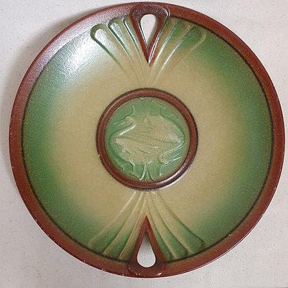 Norsk jugend art nuveau fat keramikk grønnt brunt