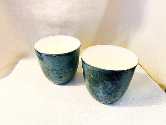 Håndlaget keramikk julegave grønn glasur  lyslykt