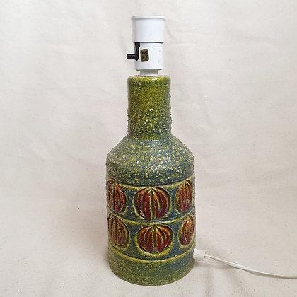 Retro keramikk bordlampe grønn orange