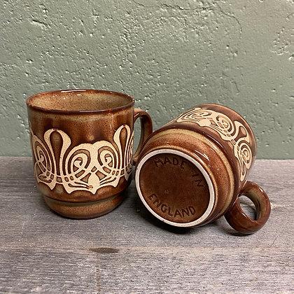 4 keramikkrus made in england brune