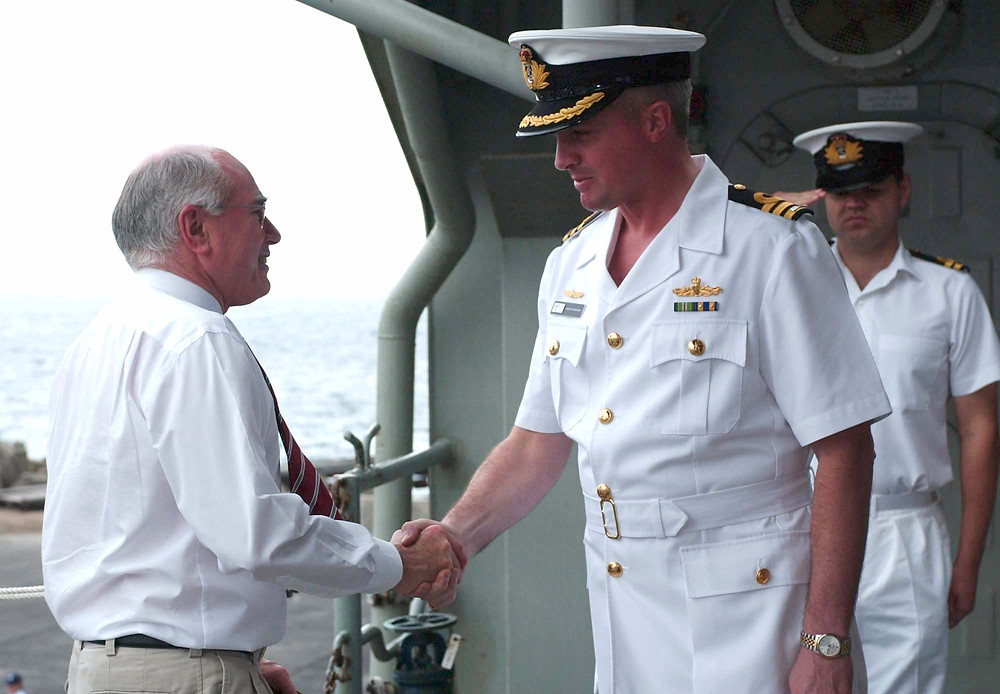 Prime Minister Howard visiting HMAS MANOORA