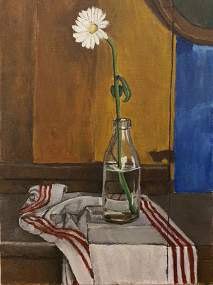 Painting Daisy In a Milk Bottle by Euan Uglow by James Carter Art