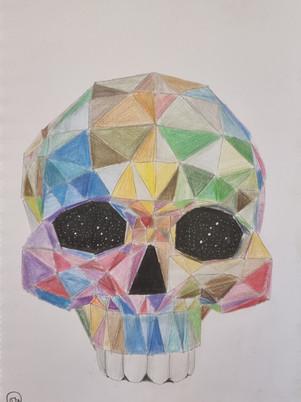 Drawing of Rainbow Triangle Skull