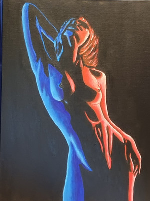 Nude Red & Blue Series Painting