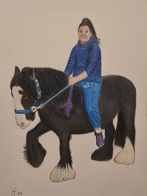 Horse With Girl Drawing by James Carter Art