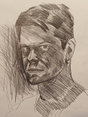 Karl Kopinski Self Portrait Drawing by James Carter Art