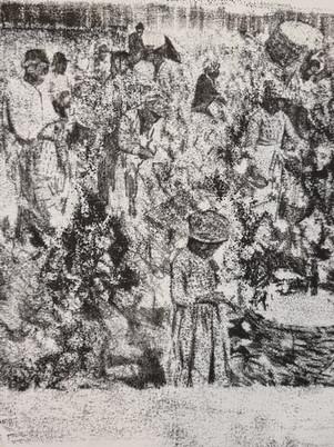 Cotton Slave Trade Monoprint