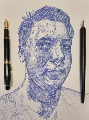 Fountain Pen vs Dip Pen half and half Self Portrait