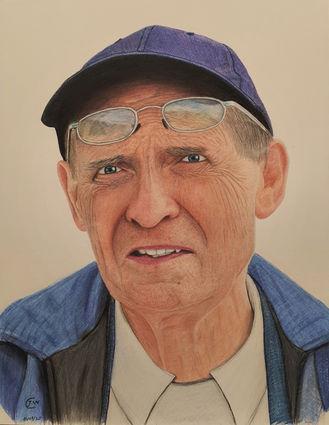 Grandad Drawing by James Carter Art