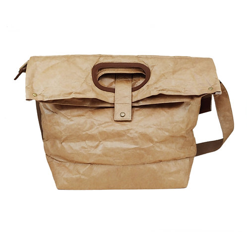 2-Way Waxed Kraft Paper Fold-over Shopping Bag