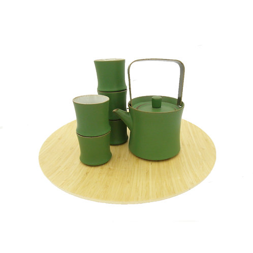 GREEN BAMBOO Ceramic Teapot Set