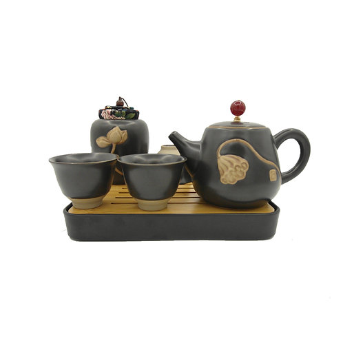 Black Ceramic Japanese Teapot Set
