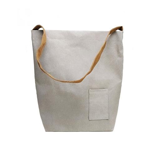 Grey Washed Kraft Paper Shoulder Bag