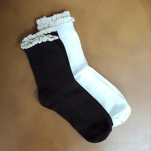 女裝喱士花邊竹纖維襪子