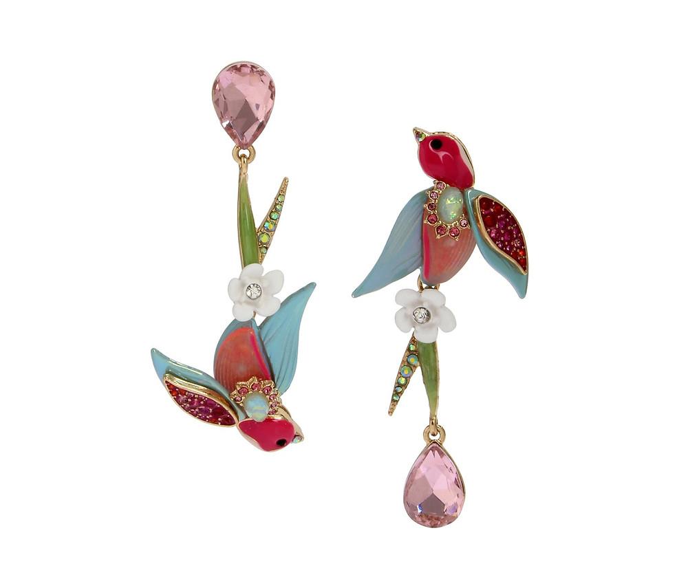 Betsey Johnson - Opulent Floral Bird Earrings