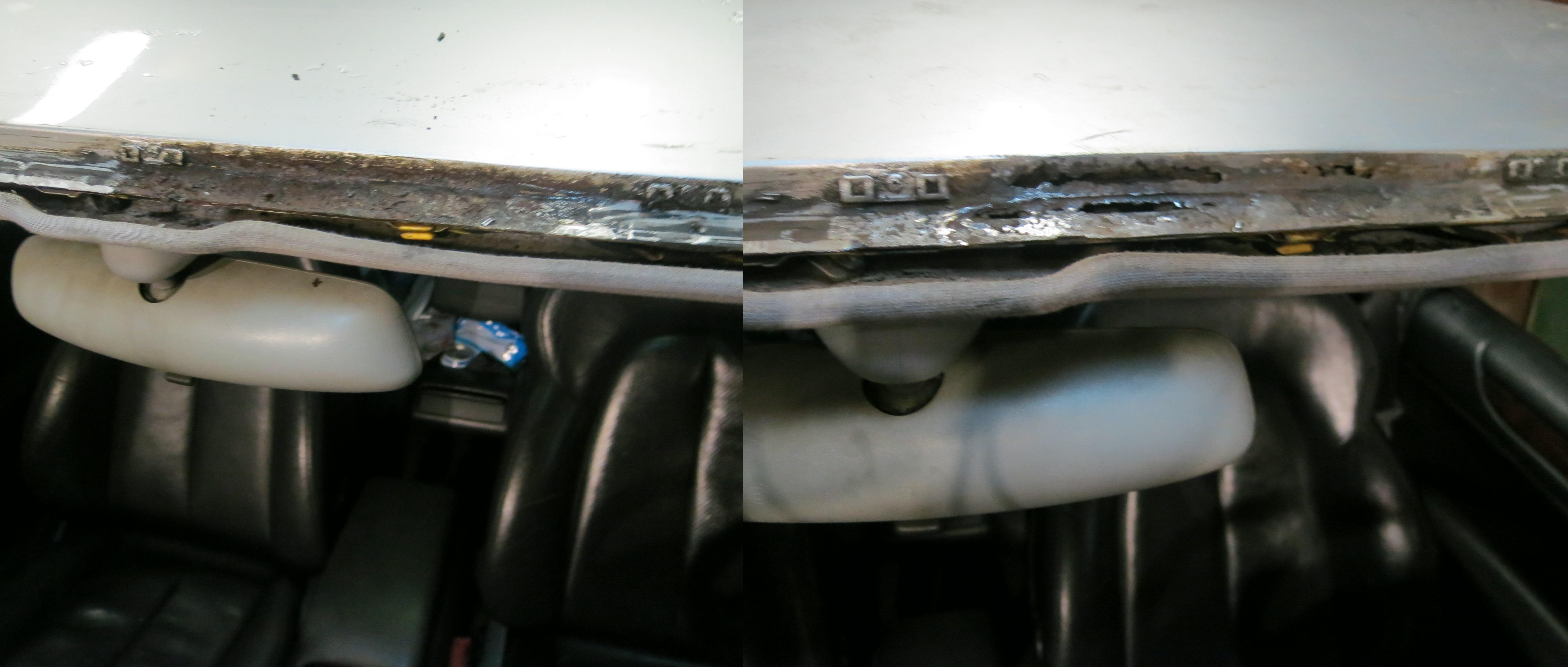 Ржавая рамка лобового стекла