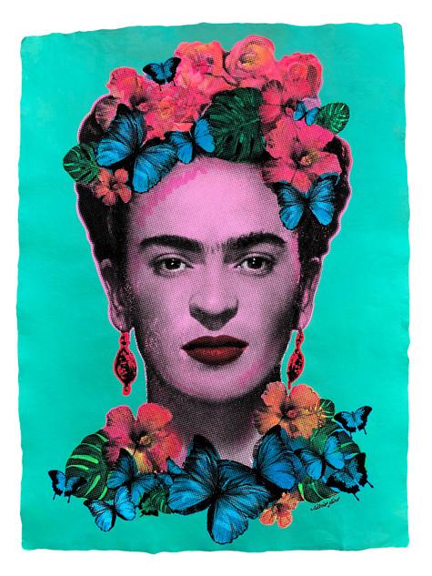 Frida Kahlo (Turquoise-Flourescent)