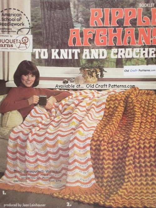 American School 5 - Ripple Afghans Knit and Crochet Patterns