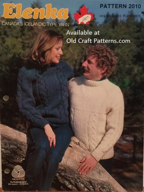 Elenka 2010. His or Hers Cabled Pullover Knitting Pattern