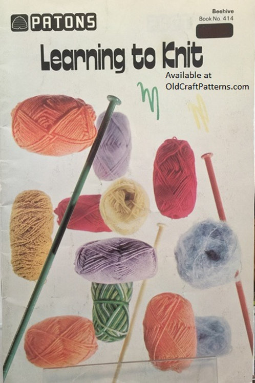 Patons 414. Learning to Knit - How to with Instructions for Beginners