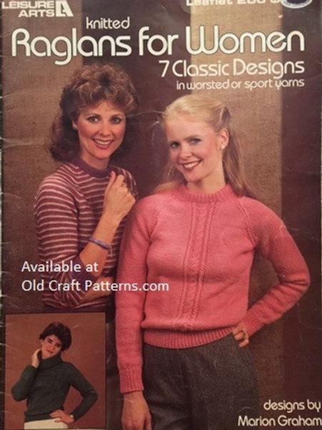 Leisure Arts 266. Raglans for Women - Classic Designs - Ladies Knitting Patterns