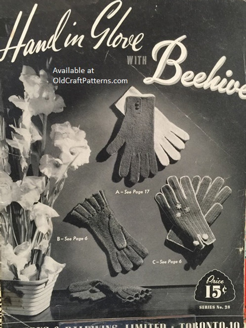 Patons 28. Hand in Glove with Beehive - Vintage Knitting & Crochet Patterns