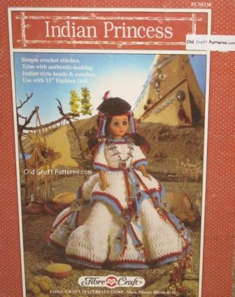 Fibre Craft 238 Indian Princess Doll Clothes Outfit Crochet Patterns