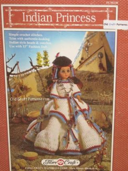 Fibre Craft 238. Indian Princess Doll Clothes Outfit - Crochet Patterns