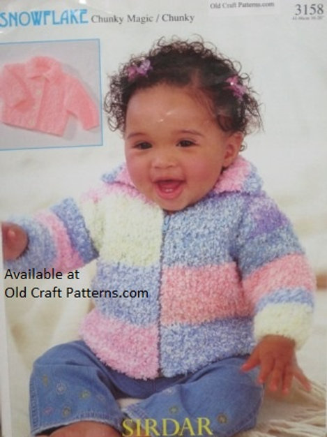 Sirdar 3158. Baby Jacket with Zipper at Back - Knitting Pattern