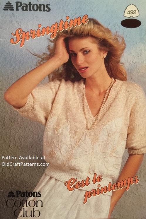 Patons 492. Springtime Cotton Club - Ladies Tops Knitting Patterns