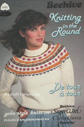 9ff97cfd3 Patons 446. Knitting in the Round - Ladies Mens Girls Sweater Patterns